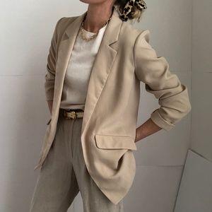 Cream lightweight open liner blazer